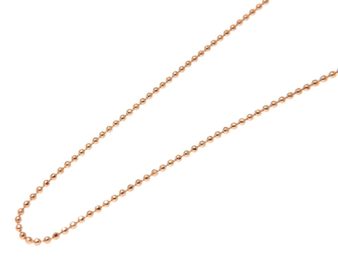 1MM SOLID 14K PINK ROSE GOLD DIAMOND CUT BEAD BALL CHAIN NECKLACE 16 18 20 - 24""