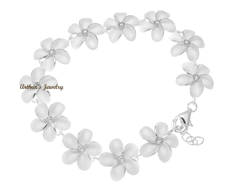 STERLING SILVER 925 HAWAIIAN PLUMERIA FLOWER BRACELET CZ 18MM 7""