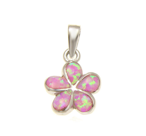 925 Sterling Silver Rhodium Pink Opal Hawaiian Plumeria Flower Pendant 12-25mm