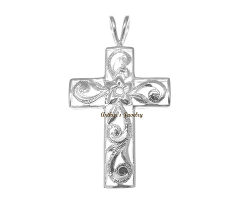 925 STERLING SILVER HAWAIIAN PLUMERIA FLOWER SCROLL CROSS PENDANT