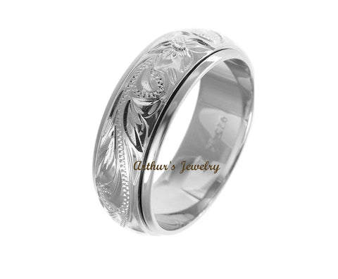 STERLING SILVER 925 HAWAIIAN PLUMERIA FLOWER SCROLL SPIN RING