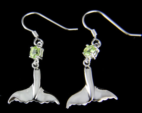 GENUINE PERIDOT SILVER 925 HAWAIIAN WHALE TAIL WIRE HOOK EARRINGS RHODIUM 16MM