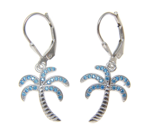 925 Sterling Silver Blue Topaz Hawaiian Palm Tree Leverback Earrings