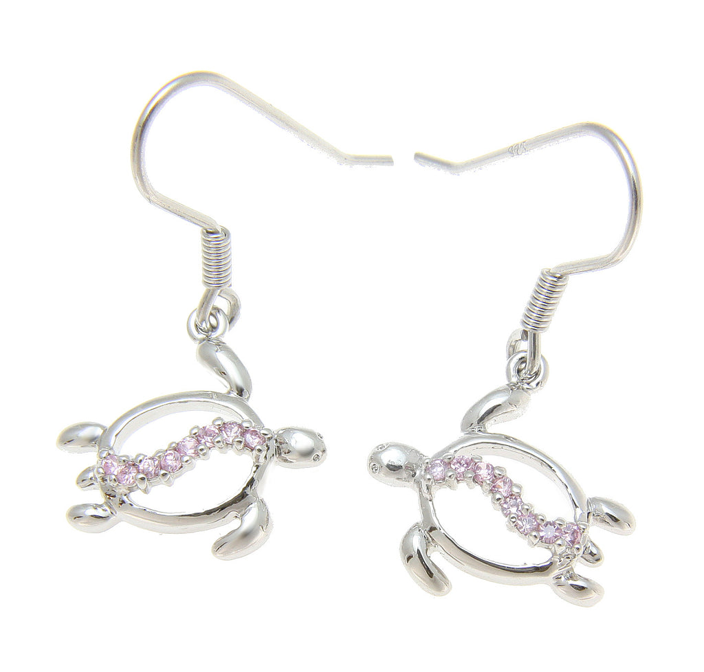 STERLING SILVER 925 HAWAIIAN HONU TURTLE DANGLING WIRE HOOK EARRINGS PINK CZ