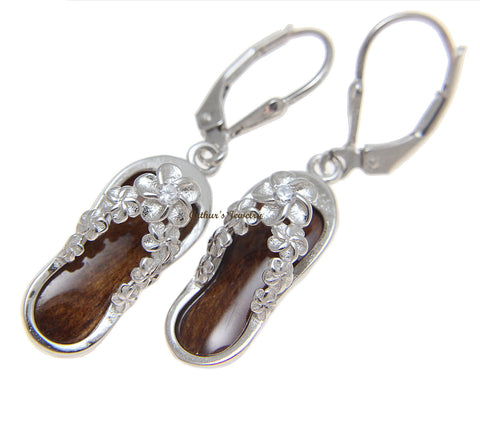 GENUINE HAWAIIAN KOA WOOD PLUMERIA FLOWER LEI LEVERBACK EARRINGS 925 SILVER