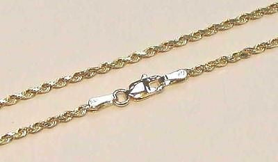 "2MM SOLID 14K YELLOW GOLD DIAMOND CUT ROPE CHAIN 16"" 18"" 20"" 22"" 24"" 30"""