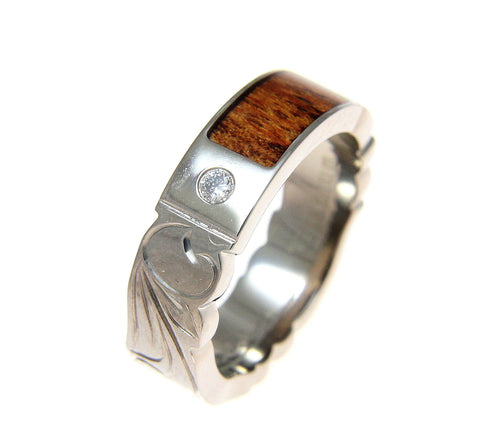 GENUINE HAWAIIAN KOA WOOD DIAMOND WEDDING BAND RING TITANIUM SCROLL 6MM SZ 5-12