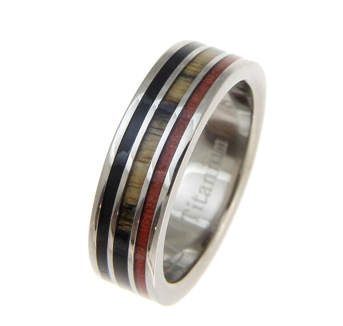 GENUINE B&W EBONY & COCOBOLO & PINK IVORY WOOD WEDDING BAND RING TITANIUM 6MM SIZE 3-14