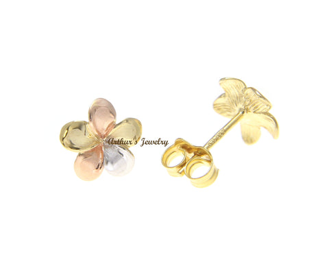 9MM SOLID 14K TRICOLOR GOLD HAWAIIAN FANCY PLUMERIA FLOWER STUD POST EARRINGS