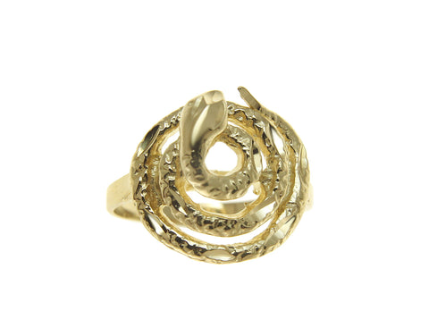 HEAVY SOLID 14K YELLOW GOLD DIAMOND CUT SNAKE RING 15MM