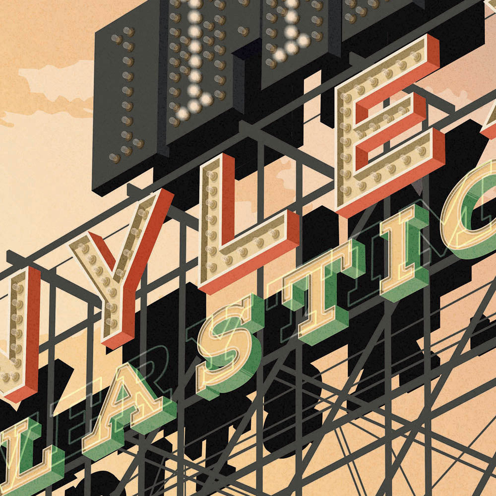 Nylex Clock Sign Melbourne colour print closeup view