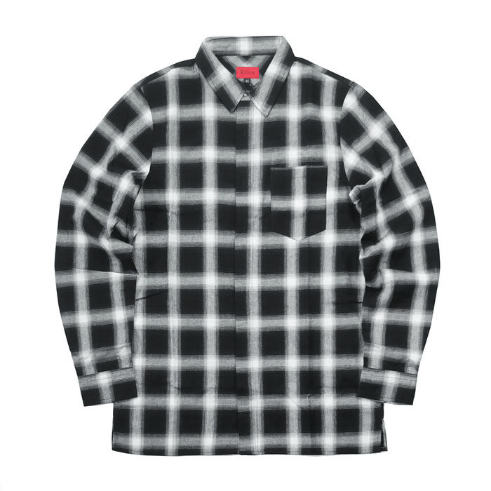 Shadow Flannel Flat Hem LS Buttonup - Black/White