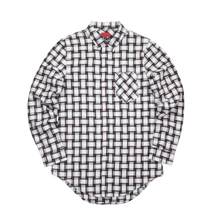 Merin LS Buttonup - White/Black/Red