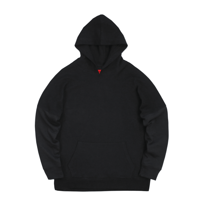 Reversed Terry Draped Hoodie - Black
