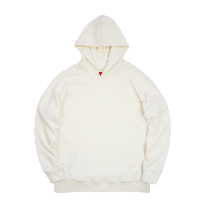 Reversed Terry Draped Hoodie - Cream