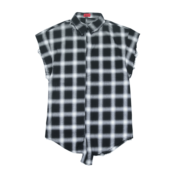 Cut Off Flannel Button Up - Black