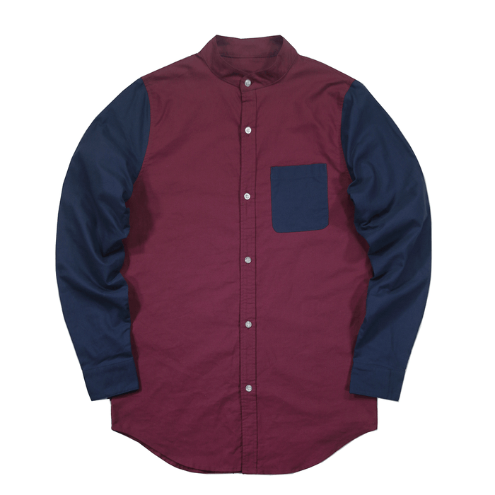 Slone Button-Up Shirt - Burgundy/Navy