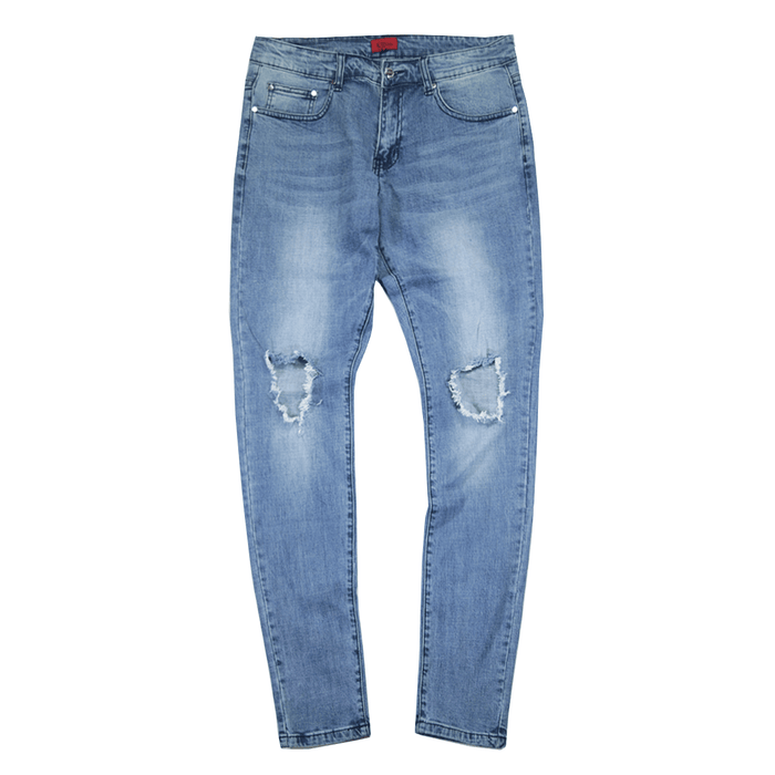 Destroyed Knee Rip Denim Jeans - Medium Blue