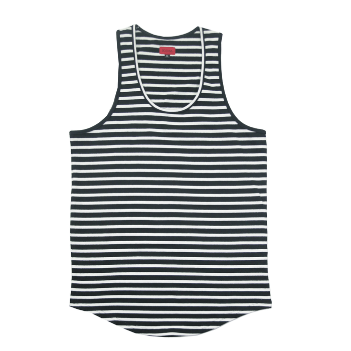 Scoop Striped Tank Top - Black/White