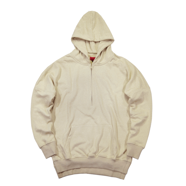 Side Cut Quarter Zip Hoodie - Sand