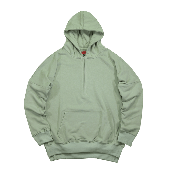 Side Cut Quarter Zip Hoodie - Washed Olive