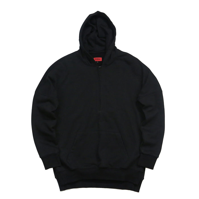 Side Cut Quarter Zip Hoodie - Black