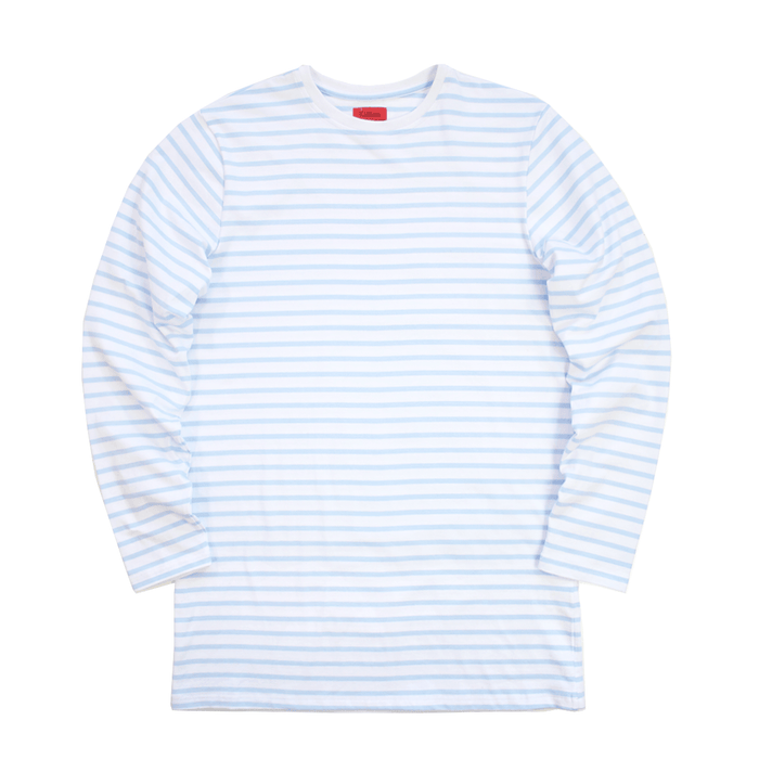 Standard Striped L/S Essential - White/Light Blue