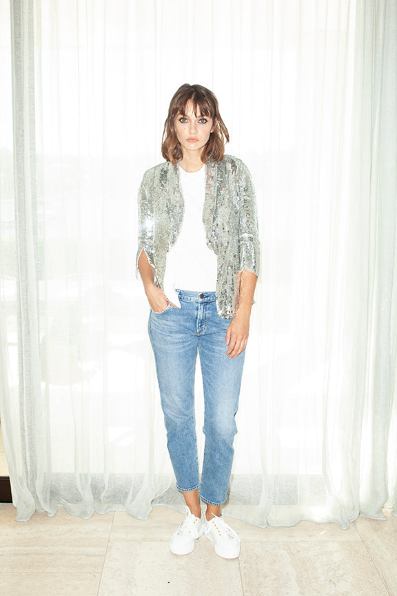 Sequin Jacket in Silver