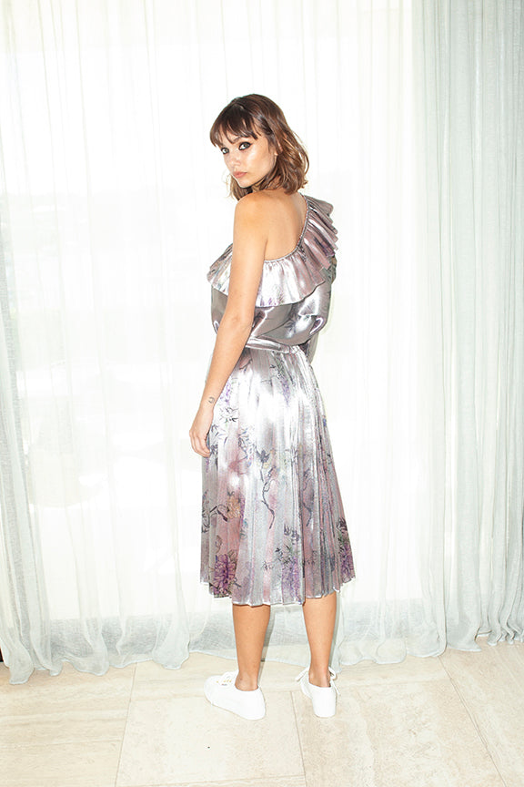 Pleated Skirt in Silver Chinoiserie