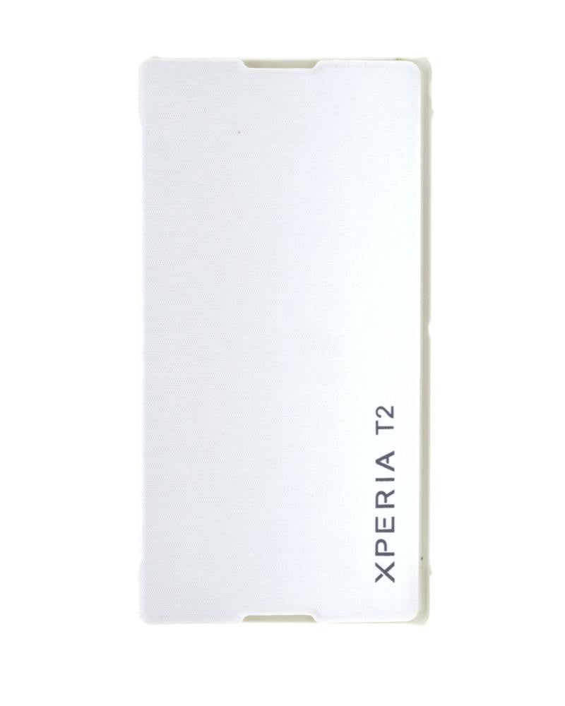 Mobile Cover - Minimalist Style Protection Flip Cover for Sony Xperia T2 With Leather Look - WHITE