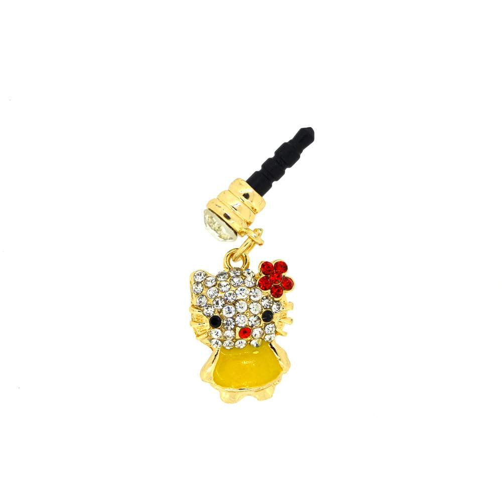 Yellow Kitty Shape With Diamond Studded Dust Plug for Smartphones