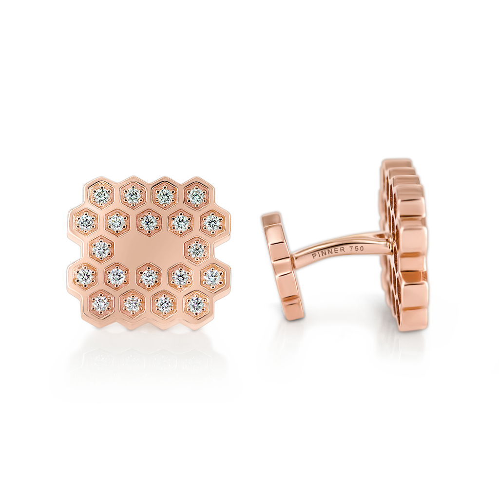 Honeycomb Cufflinks with Diamonds -  Pinner