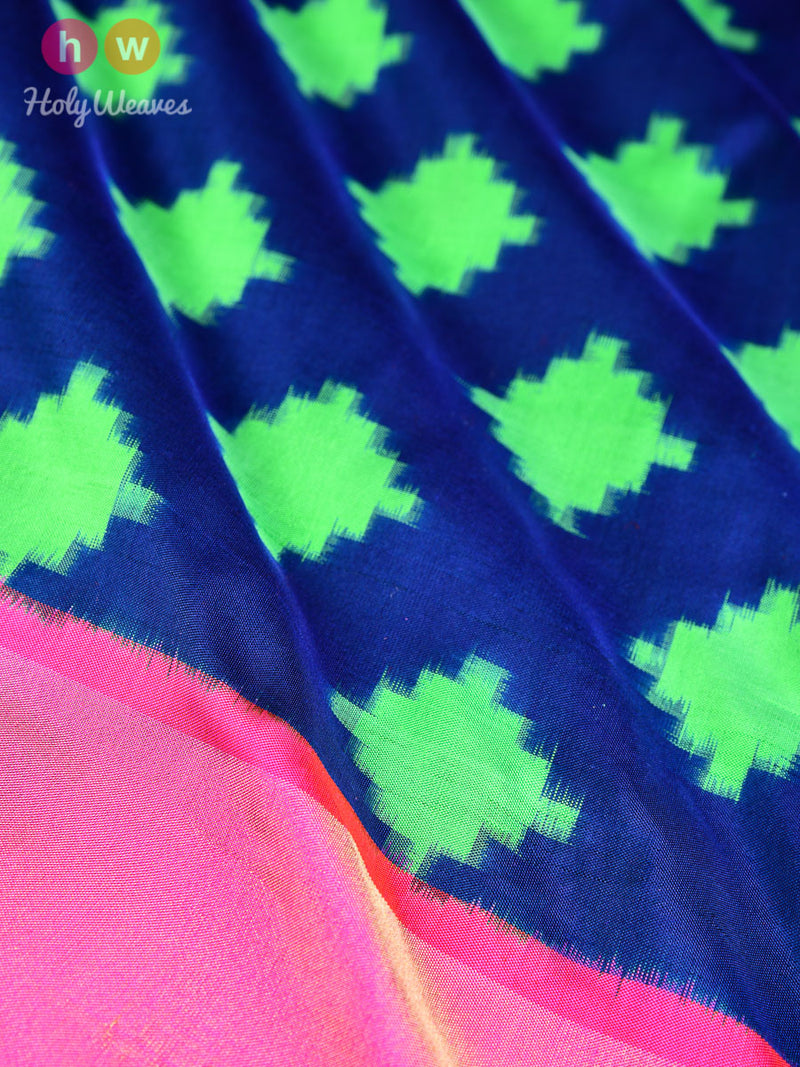 Blue Silk Double Ikat Ganga Jamuna Pochampally Handwoven Saree
