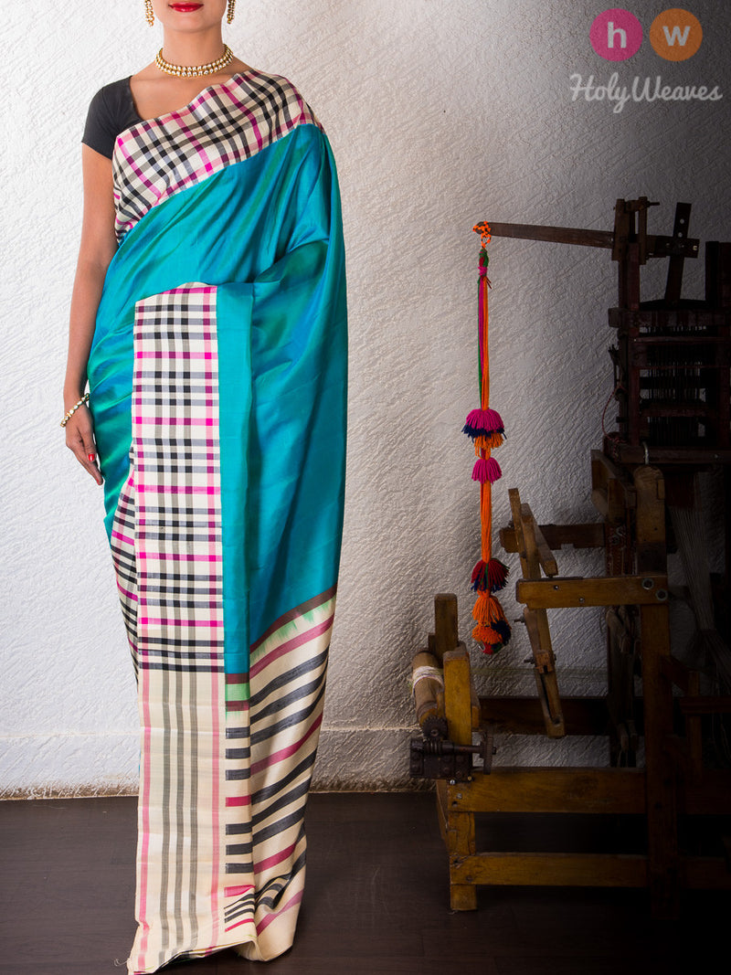 Blue Katan Silk   Handwoven Saree - HolyWeaves