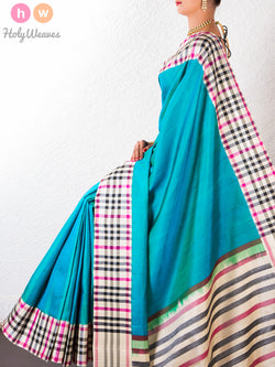Blue Katan Silk   Handwoven Saree - HolyWeaves - 1