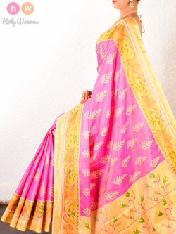 Light Pink Fern Patola Ikat Handwoven Silk Saree With Cream Pallu & Blouse piece - HolyWeaves