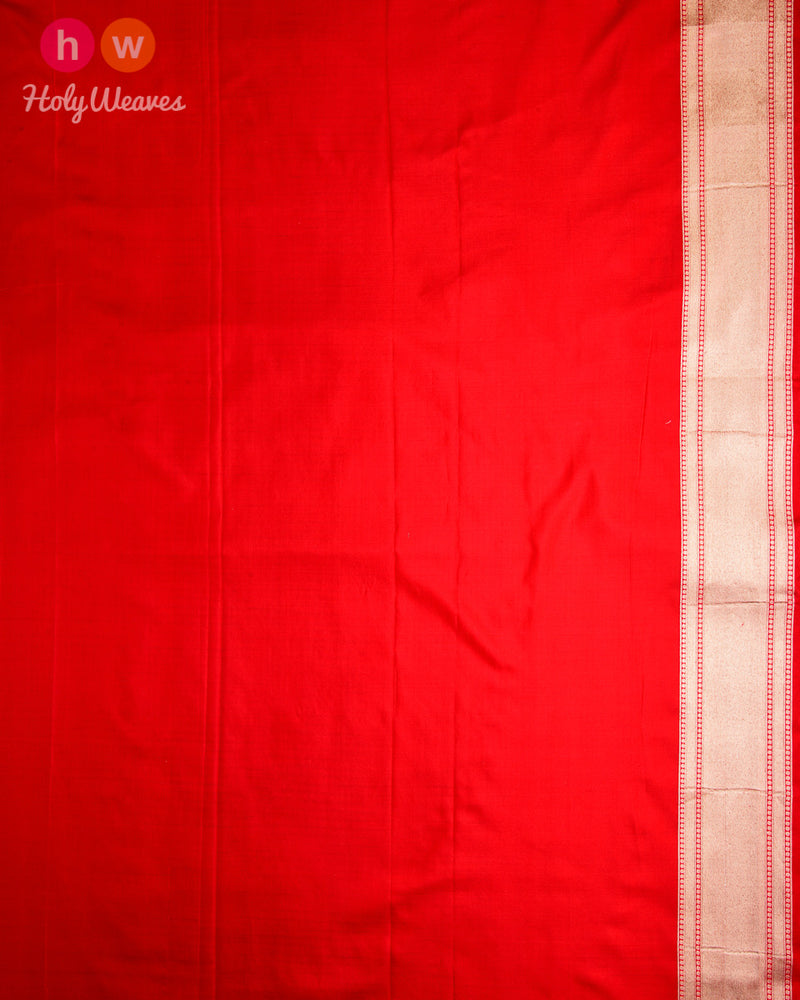 Red Banarasi Jaal Cutwork Brocade Handwoven Katan (कतान) Georgette Saree
