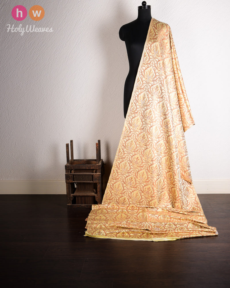 Cream Handwoven Kimkhwab Brocade Fabric