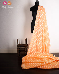 Peach-Orange Banarasi Cutwork Brocade Handwoven Cotton Silk Fabric