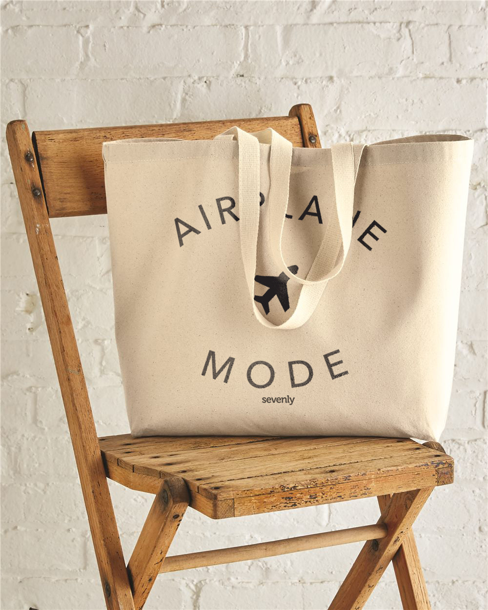 Airplane Mode Jumbo Cotton Canvas Tote Bag