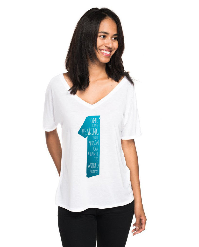 ONE GIFT Womens Flowy V-Neck