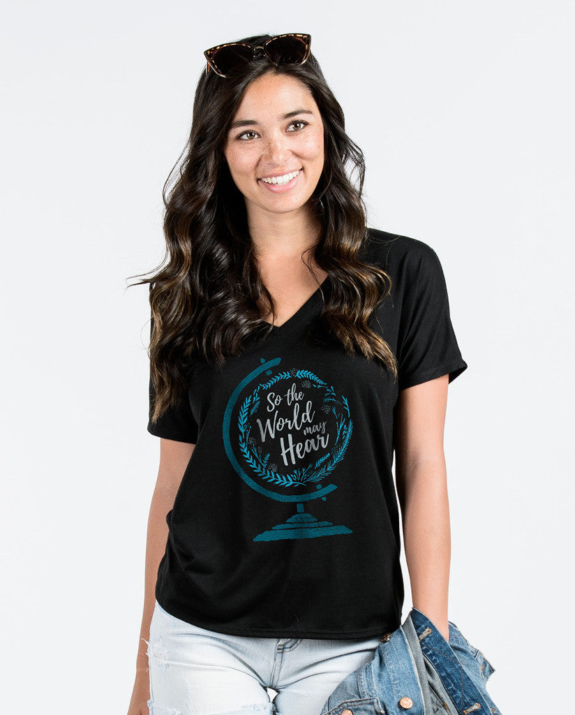 SO THE WORLD MAY HEAR Womens Flowy V-Neck
