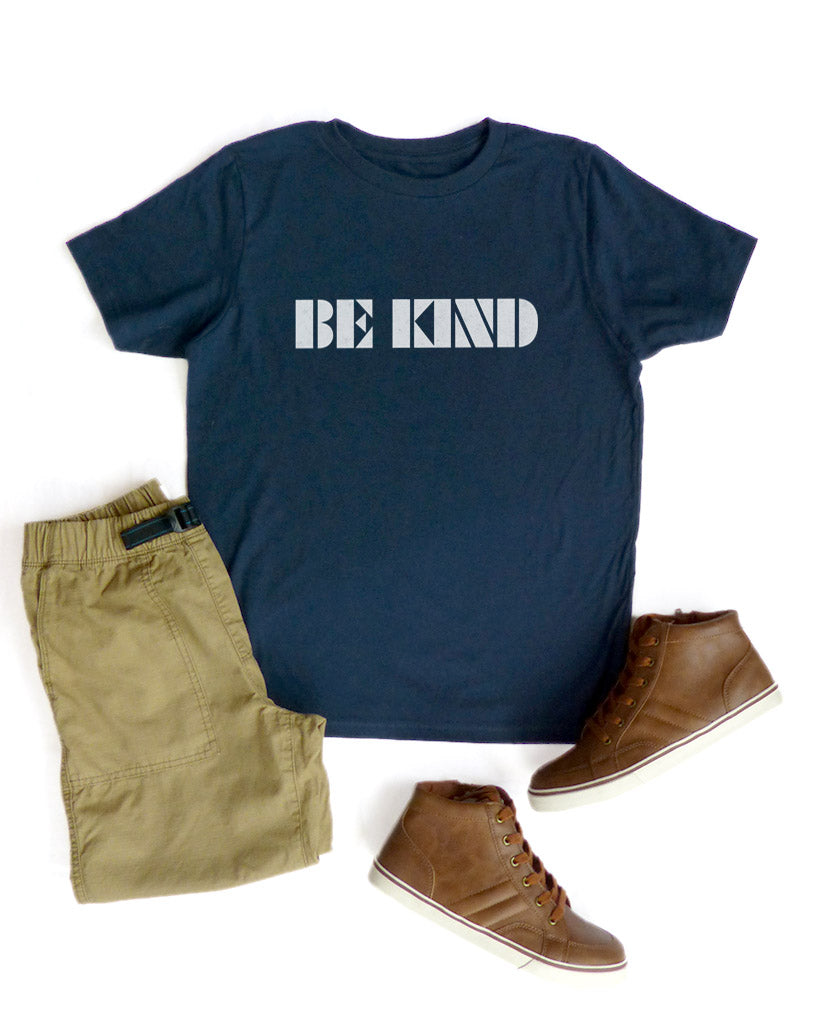 Be Kind - Boys Navy Triblend Tee
