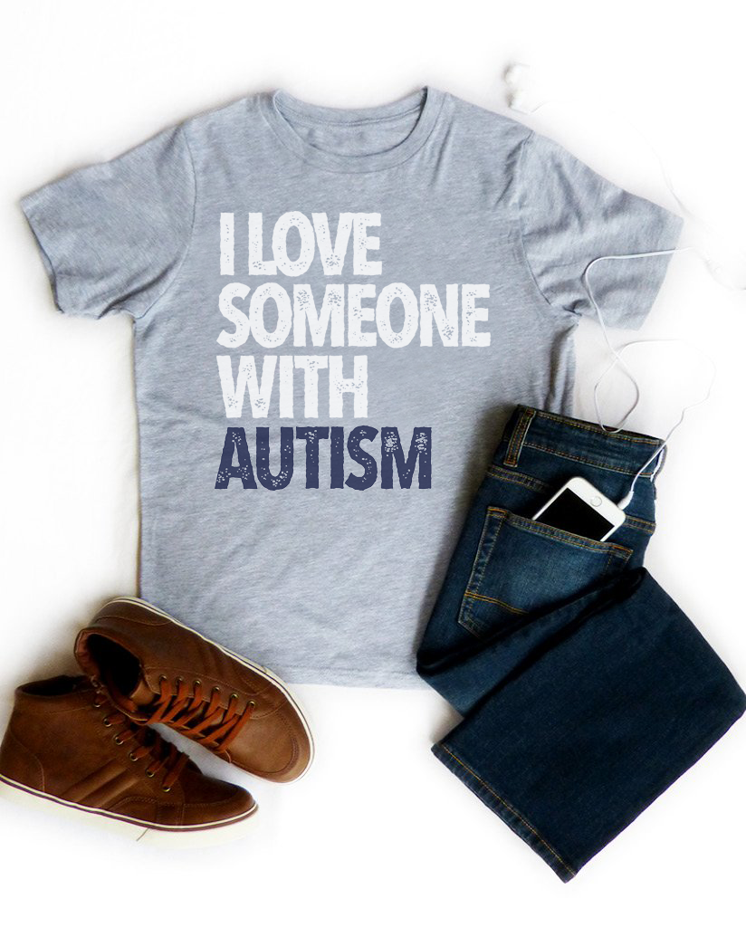 I LOVE SOMEONE Funding Autism Society - Boys Grey Triblend Tee