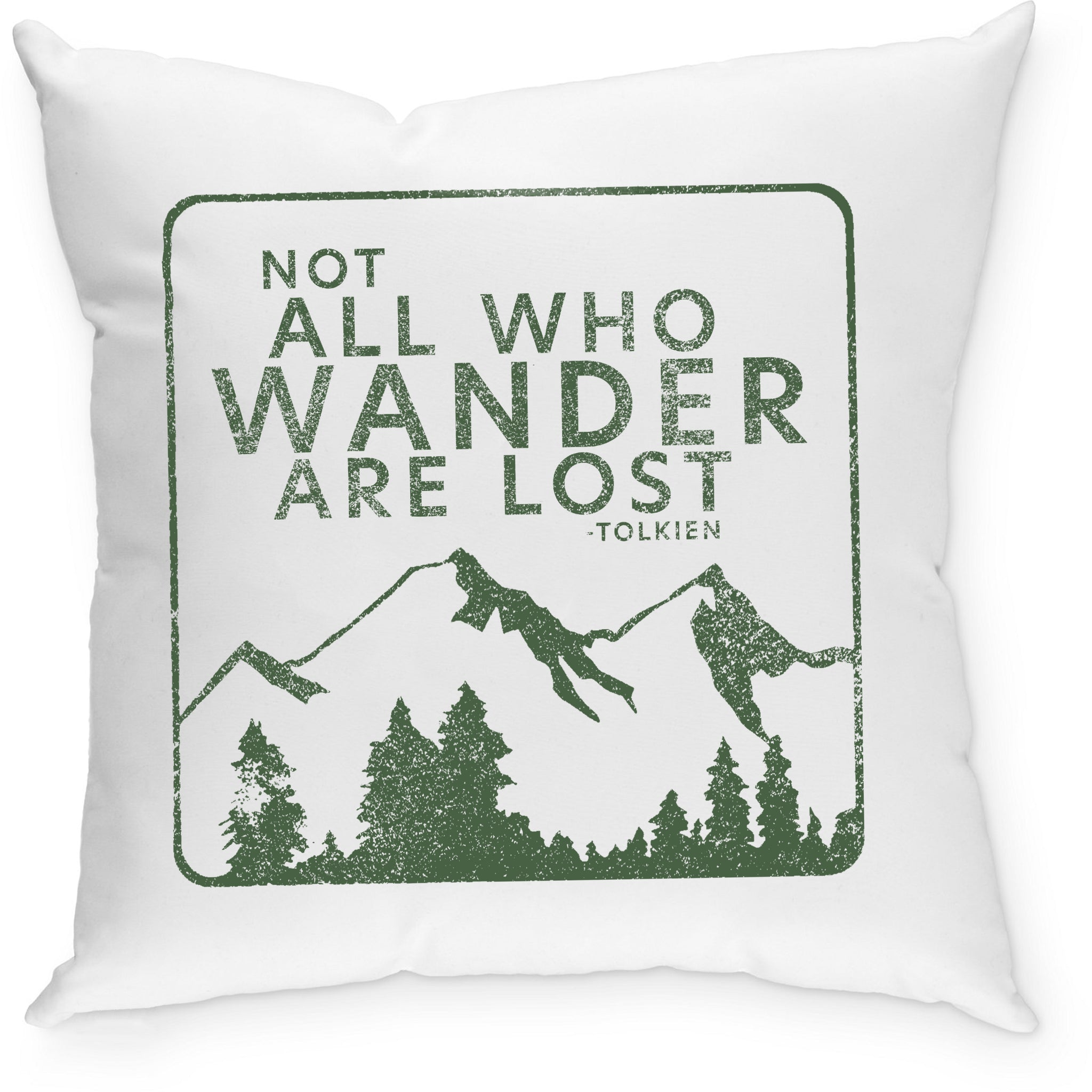 Sevenly - Cotton Canvas Throw Pillow - Not All Who Wander Are Lost