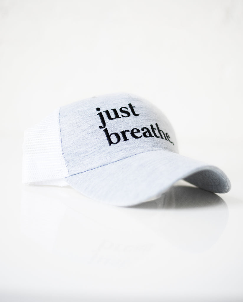 JUST BREATHE Grey Trucker Cap