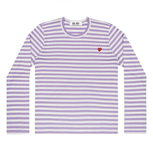 Women's Play Comme des Garçons Colour Series Little Red Heart Striped Long-sleeved T-Shirt (Purple/White)