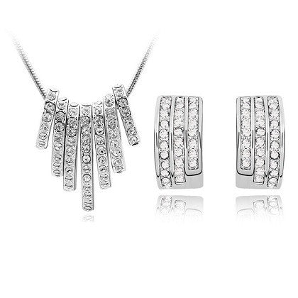 Crystal Jump Through Hoops Necklace + Earring Set
