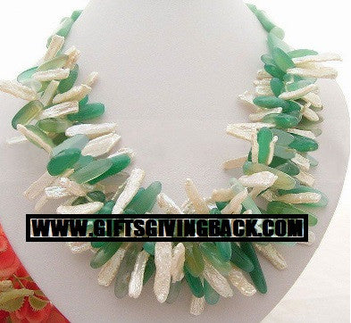 Green Goddess - Pearl and Aventurine Necklace