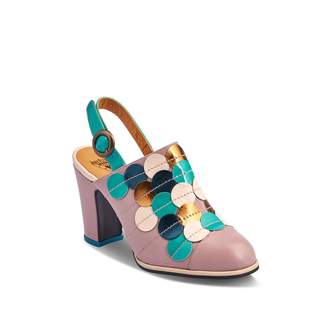 A beautiful summer slingback, Tziporah features a soft lilac upper with a multicoloured elliptical motif. The patent turquoise strap with brass buckle allows for an adjustable fit and the low profile makes her a perfect party heel.